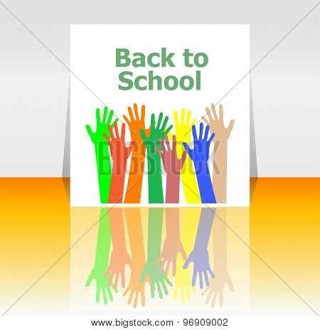 Back To School Word And People Hands, Education Concept