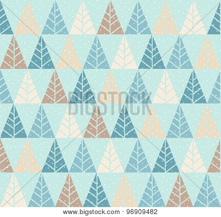Vector Seamless Pattern With Stylized Tree And Snowfall.