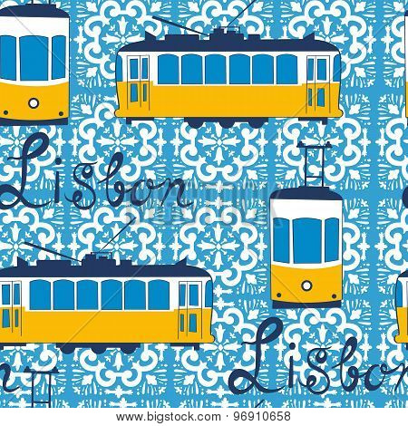 Colorful seamless pattern with tipical Lisbon tram