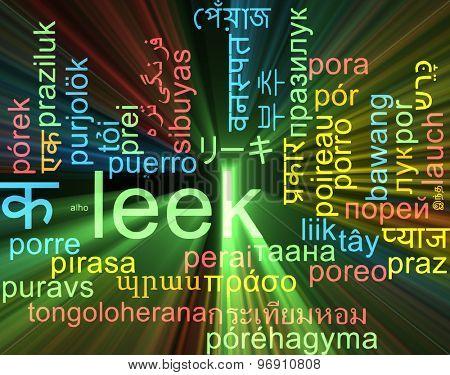 Background concept wordcloud multilanguage international many language illustration of leek glowing light