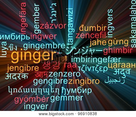 Background concept wordcloud multilanguage international many language illustration of ginger glowing light