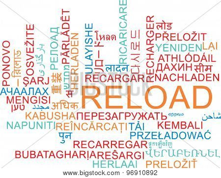Background concept wordcloud multilanguage international many language illustration of reload
