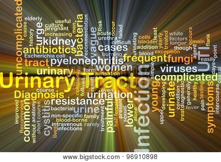 Background concept wordcloud illustration of urinary tract infection UTI glowing light
