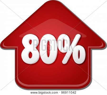 Upwards success glossy red arrow percent pointing up eighty 80