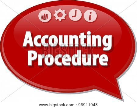 Speech bubble dialog illustration of business term saying Accounting procedures
