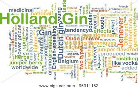 Background concept wordcloud illustration of Holland gin
