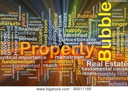 Background concept wordcloud illustration of property bubble glowing light
