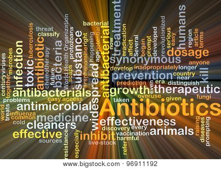 Background concept wordcloud illustration of antibiotics glowing light