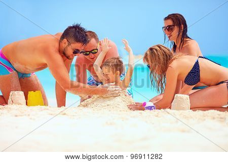 Happy Friends Having Fun In Sand On Beach, Summer Vacation