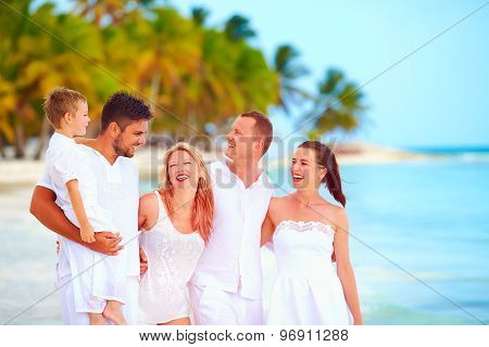 Group Of Friend Having Fun On Tropical Beach, Summer Vacation