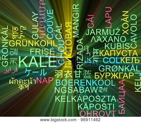 Background concept wordcloud multilanguage international many language illustration of kale glowing light
