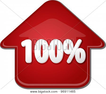 Upwards success glossy red arrow percent pointing up one hundred 100
