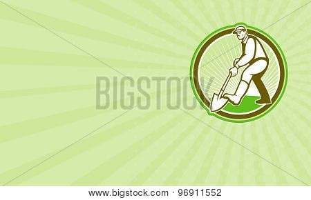 Business Card Gardener Landscaper Digging Shovel Circle