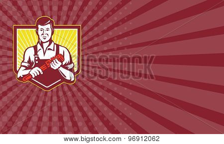 Business Card Plumber Holding Monkey Wrench