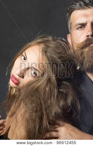 Closeup Of Sexy Girl And Man