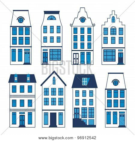 Cute Amsterdam houses colorful set