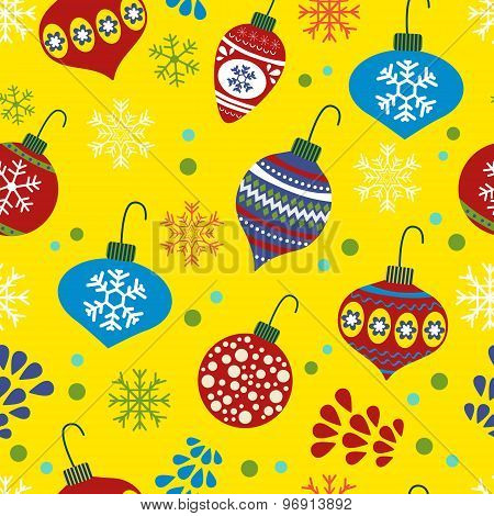 Christmas background with with Christmas baubles
