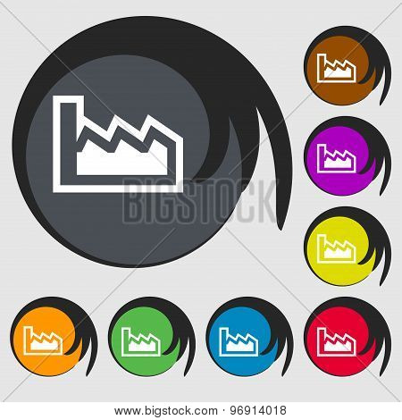 Chart Icon Sign. Symbol On Eight Colored Buttons. Vector