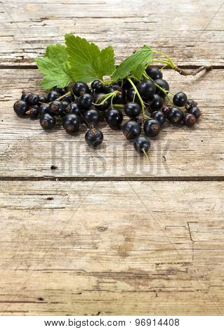 heap of organic black currant fruits and leaves on rustic wooden background with copy space