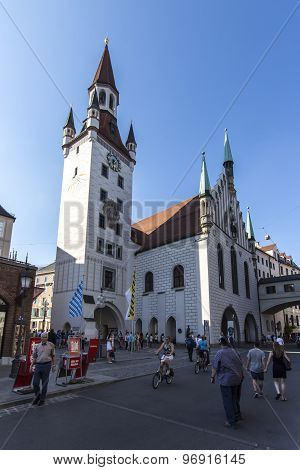 Munich, Germany - June 04, 2015: Marienplatz also called Mary's Square is one of the most vital places in Munich with the old town hall and numerous cafes and shops