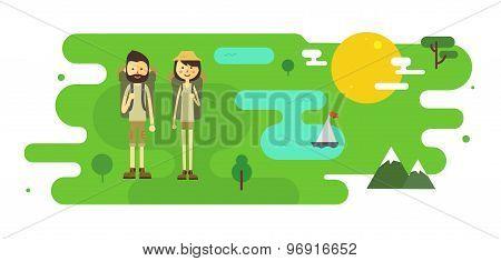 Flat cartoon couple with hiking equipment illustration