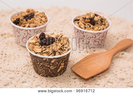 Granola In Cupcake Cases  On White Background