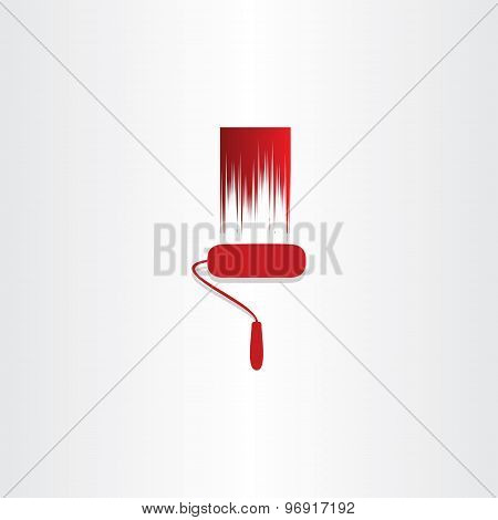 Red Paint Roller Abstract Icon