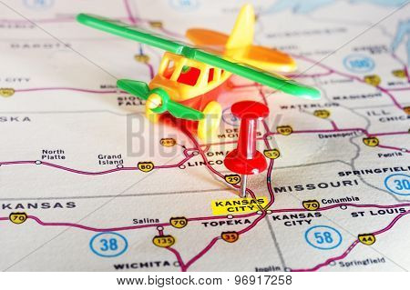 Kansan City Usa  Map Airplane