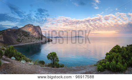 Beautiful Summer Sunset At The Sea With Mountains, Trees