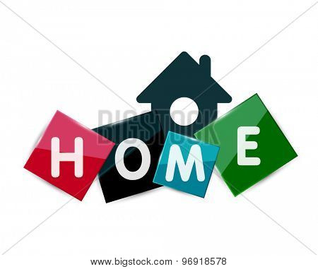 Home geometric banner design - squares with letters and house icon isolated on white