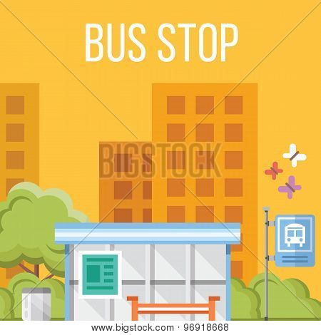 Bus stop. Flat vector illustration