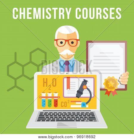 Chemistry courses flat illustration concept