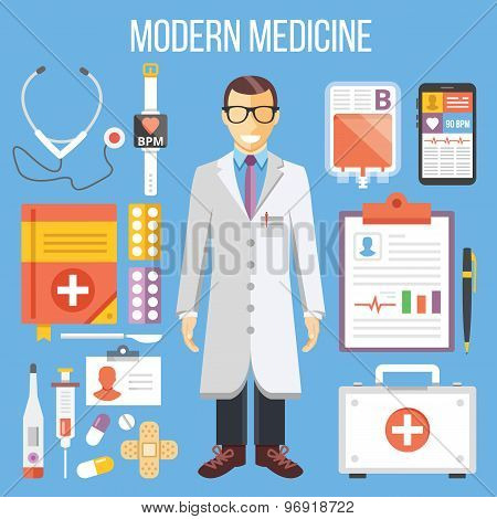 Modern medicine, doctor and medical equipment flat illustration, flat icons set