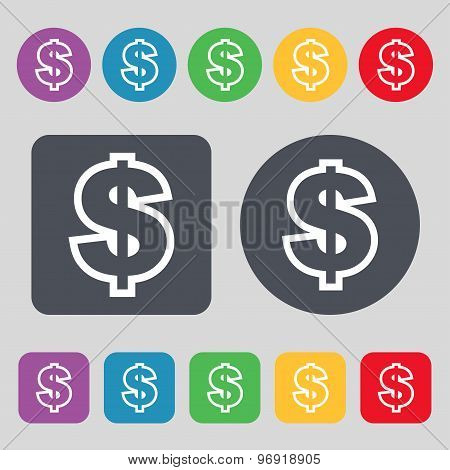 Dollar Icon Sign. A Set Of 12 Colored Buttons. Flat Design. Vector