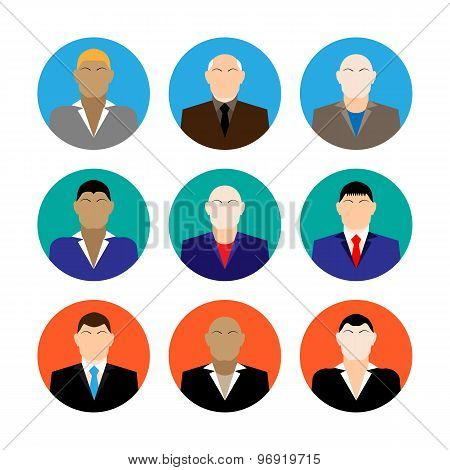 Colorful Business Male Faces  Icons Set In Trendy Flat Style
