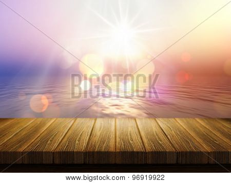 3D render of a wooden table with a defocussed image of a sunset ocean