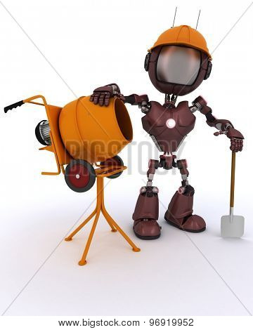3D Render of an Android builder with cement mixer