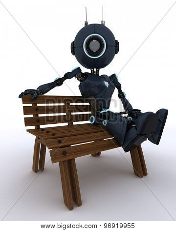 3D Render of an Android sat on a park bench
