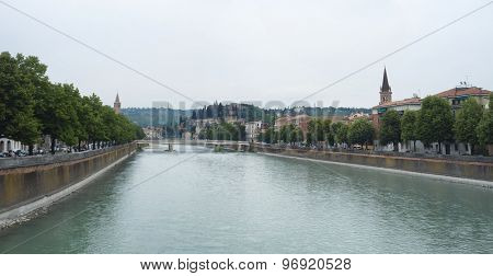 VERONA, ITALY - JULY 13: Stitched panorama of Adige river and Nuovo bridge, seeing from Navi Bridge. July 13, 2015 in Verona.