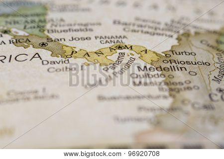 Macro of Panama on a globe