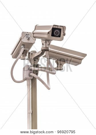 Security Cctv Camera Isolate On White Background