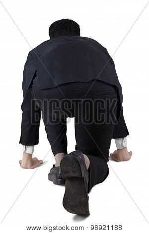 Male Employee Ready To Run In Studio