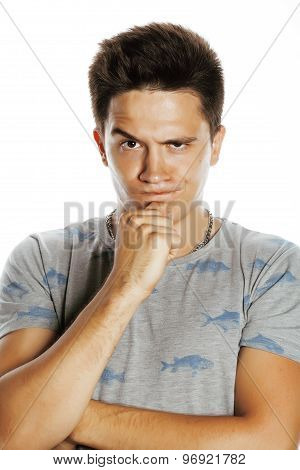 young attractive man isolated thinking emotional on white