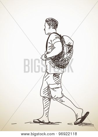 Sketch of walking young Man with backpack Hand drawn illustration