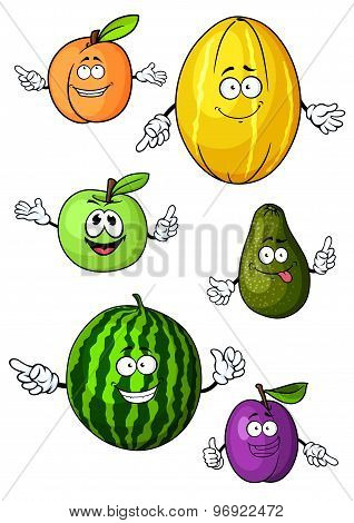 Cartoon isolated fresh fruits characters