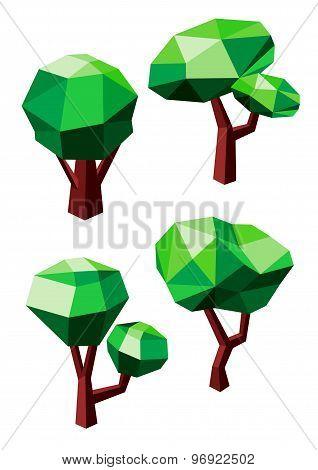 Geometric polygonal green trees icons