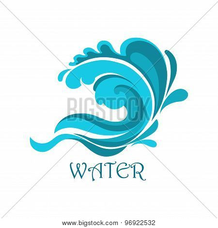Ocean wave emblem with curly elements