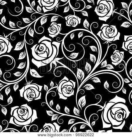 Vintage white roses seamless pattern