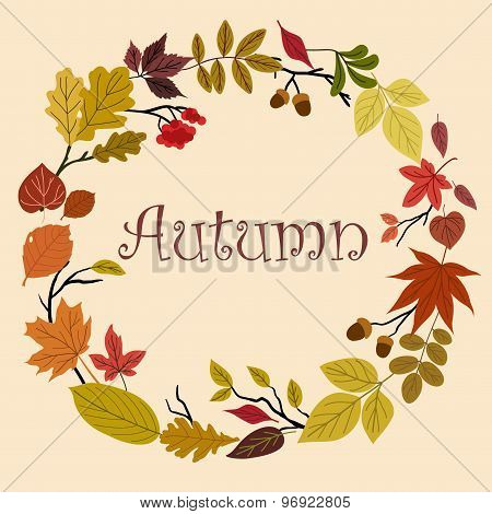 Autumn wreath with acorns and leaves