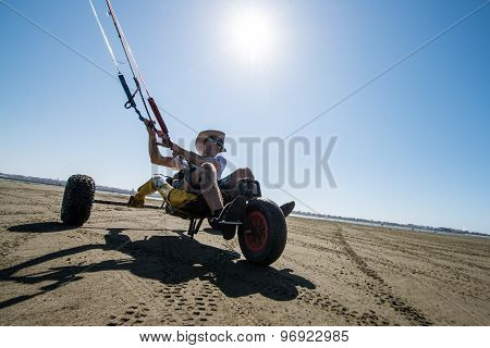 Ralph Irner Riding A Kitebuggy